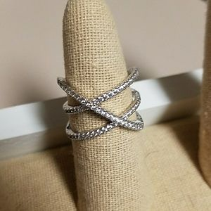 NWT Double X CZ Pave and Silver Ring
